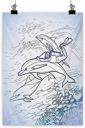 Póster de animales de la nube iridiscentes para decoración de la pared, pintura de delfines al atardecer con salpicaduras de agua, animales, juguetones al atardecer, decoración del hogar, multicolor 16 x 20