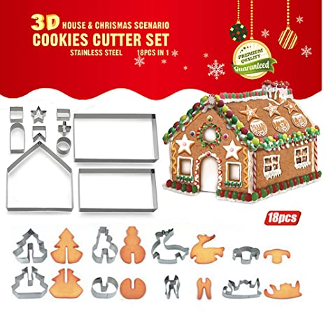 3d Christmas Cookie Cutter Set For Kids Ipstyle Stainless Steel Cookie Cutters Including Christmas House Tree Snowman Deer Sled Shapes 18 Piece
