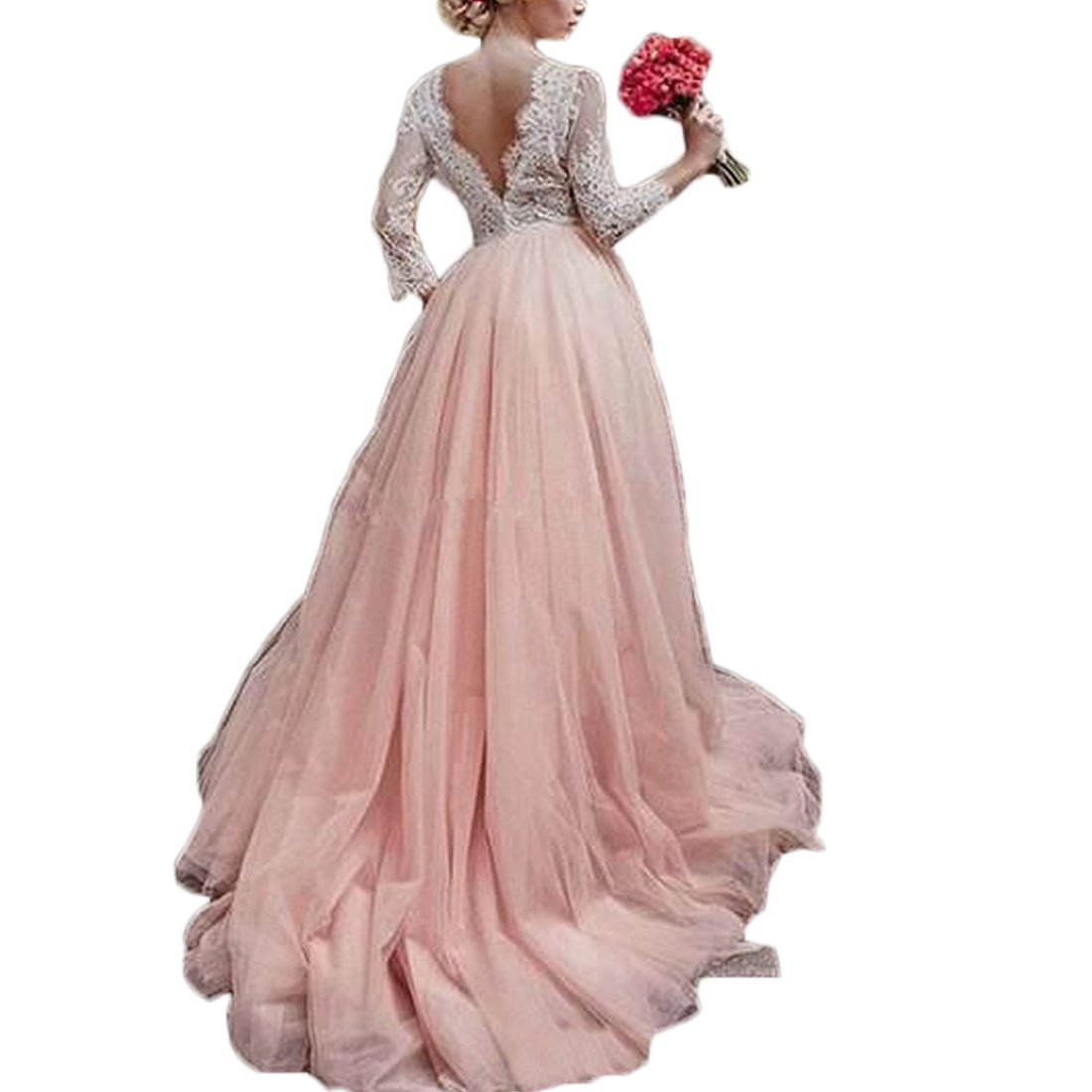 Thrsaeyi Womens Blush Long Sleeves Wedding Dresses V Neck Beach Wedding Gowns for Bridal 2018 Lace Boho Bridal Gown at Amazon Womens Clothing store: