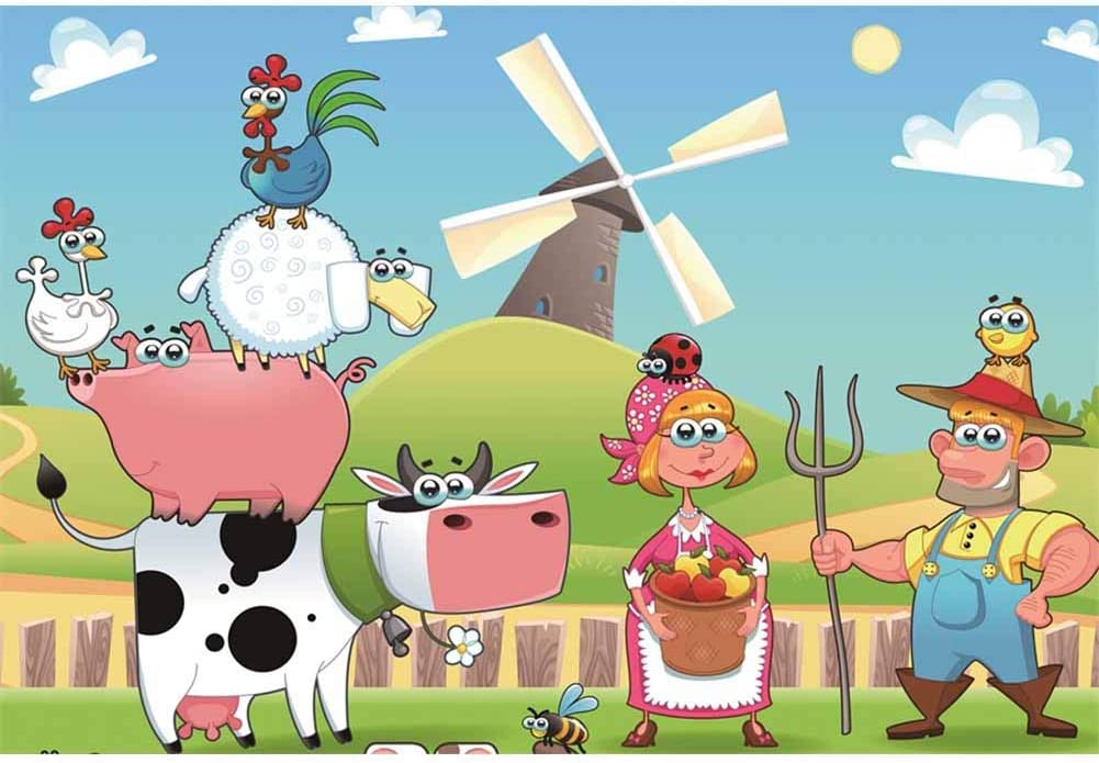 8x12 FT Vinyl Photography Background Backdrops,Funny Cartoon Village Countryside Farmland Theme Drawing Style Kids Pattern Background for Selfie Birthday Party Pictures Photo Booth Shoot
