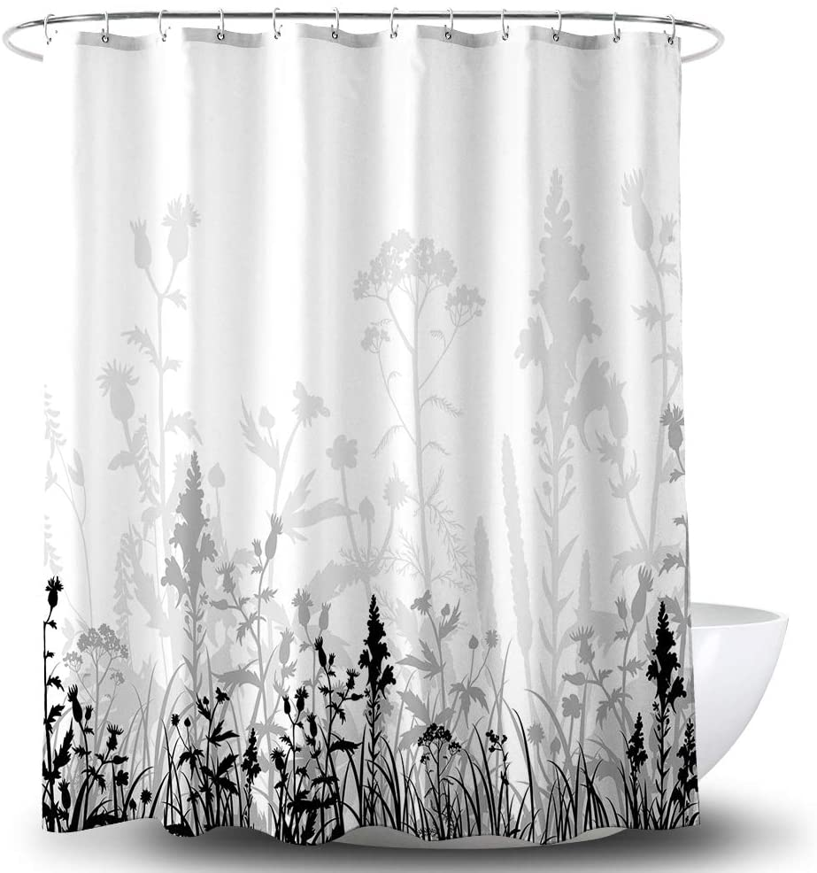 Grey Flowers Shower Curtain Black Grey Leaves Shadow Abstract Nature White Background Waterproof Fabric Bathroom Decor Bath Curtain with Hooks 72x72 inch