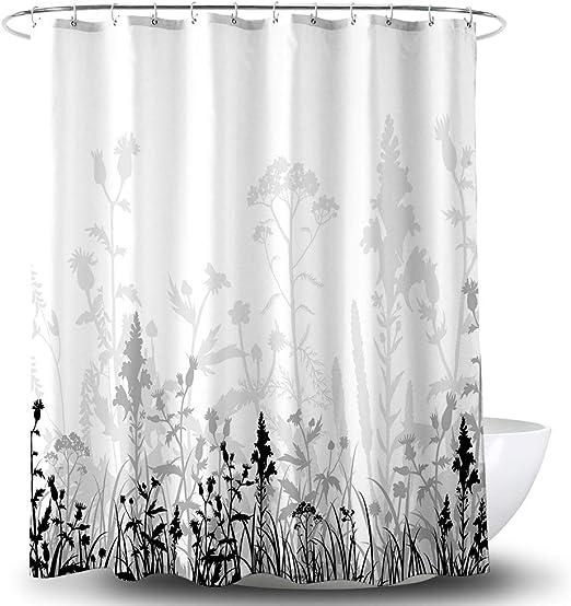 Black White Shower Water Drops Design Shower Curtain Waterproof 12 Hooks