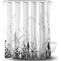 YOSTEV Black and Grey Floral Bathroom Fabric Shower Curtain with Hooks,Decorative Bathroom Accessories,Water Proof,Reinforced Metal Grommets 54x78 inches