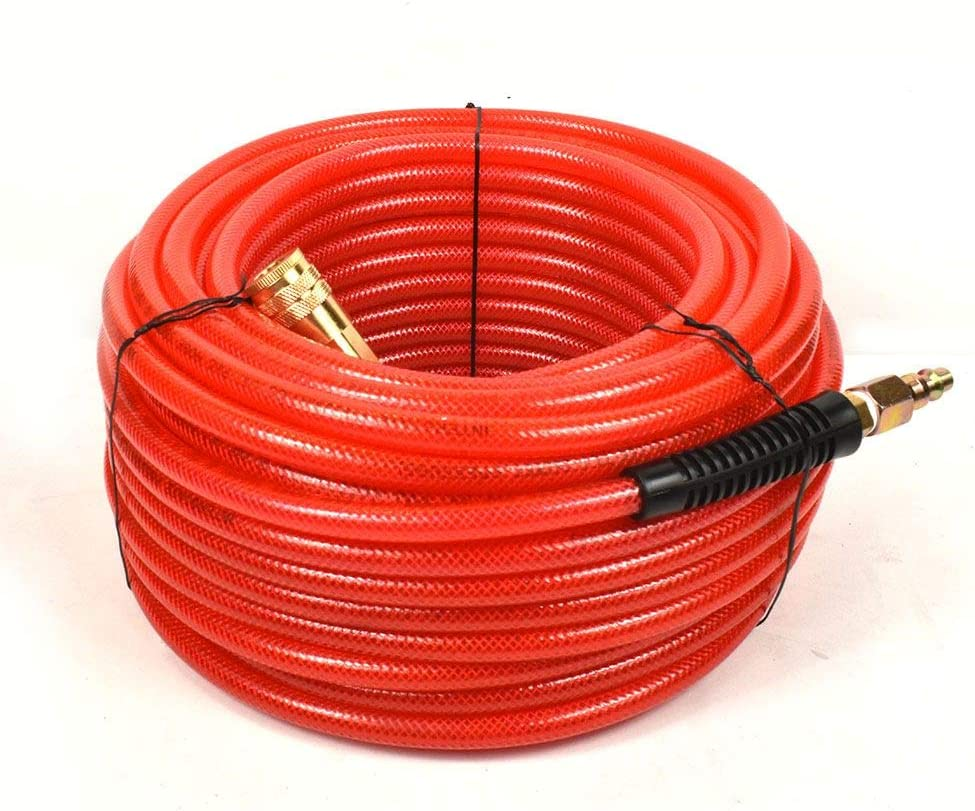 Interstate Pneumatics HA04-100H44B 100ft Red Translucent PVC Hose Kit with 1//4 Inch Brass Coupler /& Brass Plug 300 PSI 4:1 Safety Factor
