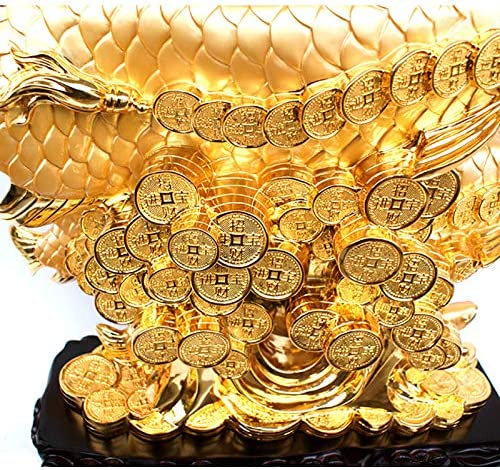 Statues Decorative Sculpture,Golden Dragon Fish Animal Figurine Cashier Desk to Recruit Money Decoration Home Decoration Handicraft Business Gifts-Sand Gold 22.4inch