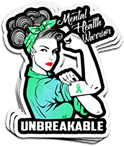 3 PCs Stickers Mental Health Warrior Unbreakable Awareness Month 4 × 3 Inch Die-Cut Decals for Laptop Window