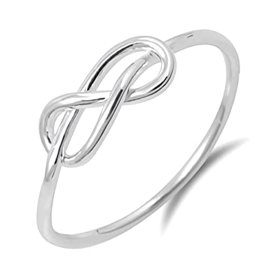 8ce2761fe1 Love Knot Ring Lovers Couple Ring Band Sterling Silver Plain Simple Vintage Style  Promise Size 4