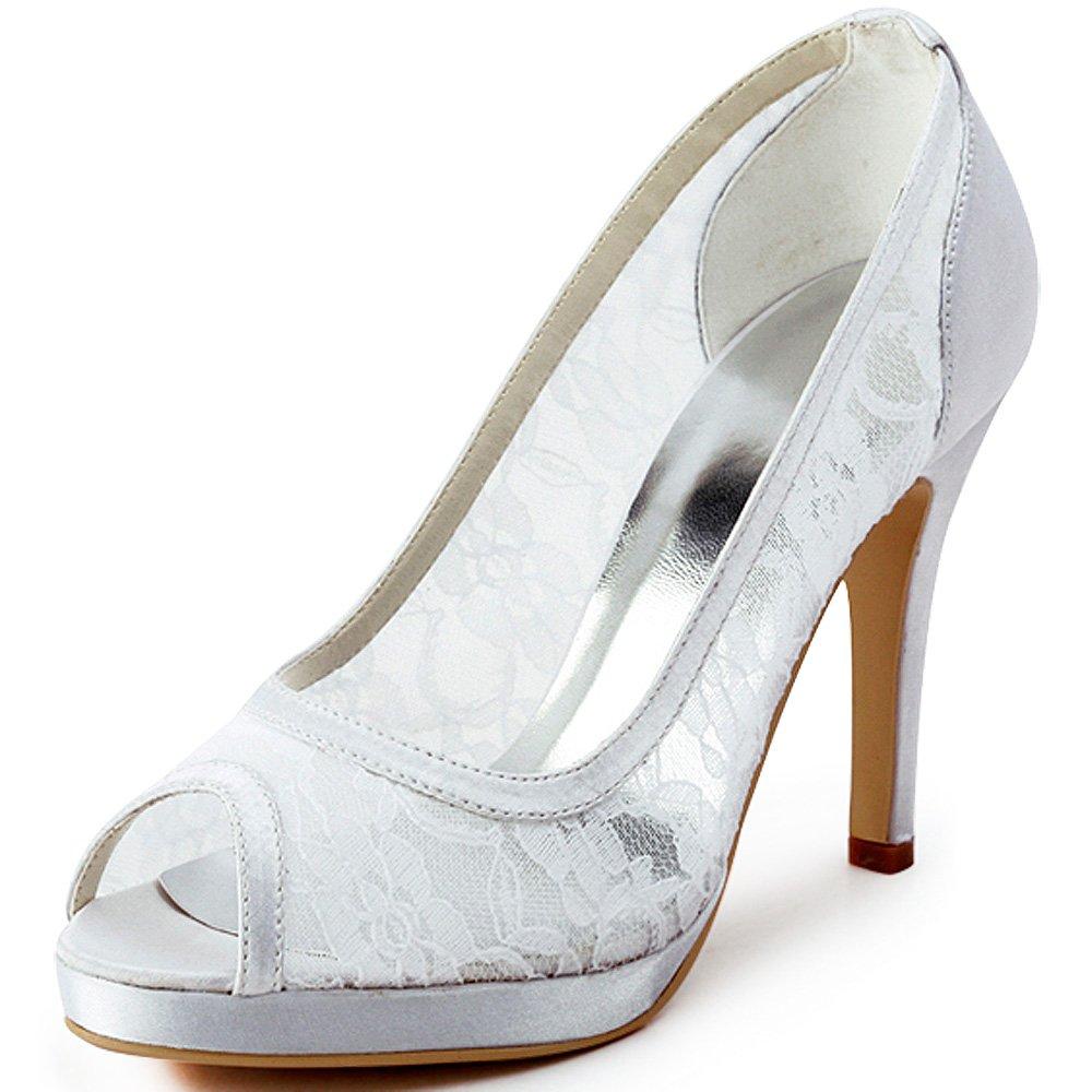 ElegantPark Women EP11084-PF Peep Toe Platform High Heel Lace Satin Wedding Bridal Dress Shoes White US 6