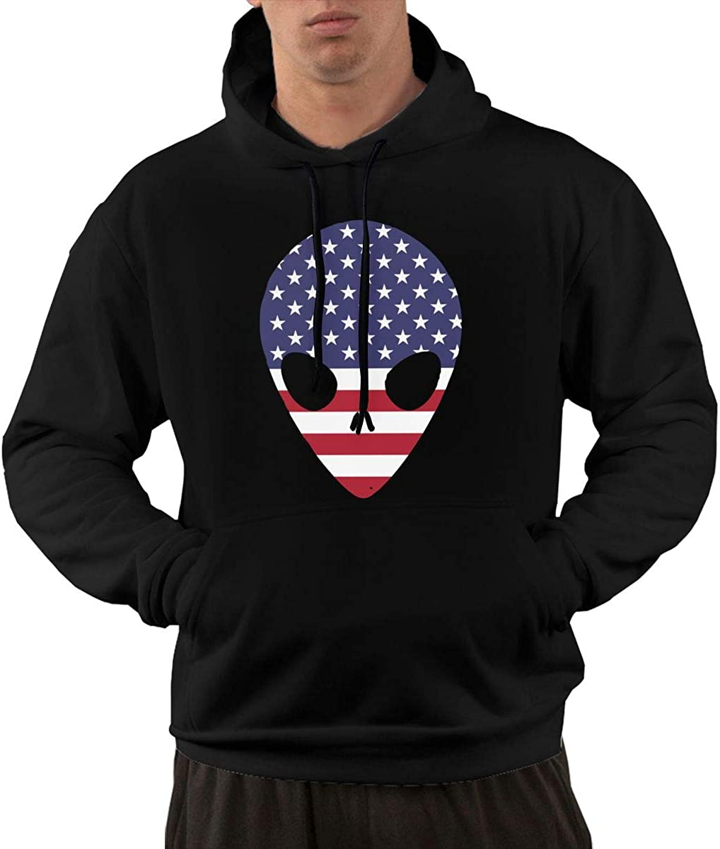 Ou30IL@WY Mens Funny Alien American Flag Pullover Hoodie Big /& Tall 100/% Cotton Outwear with Pocket for Men