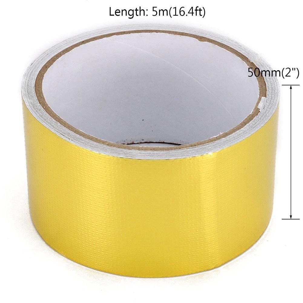 ZHUOTOP 5M Length 16ft Golden Fiberglass Wrap Barrier Tape Heat Shield Roll Exhaust Car Protection