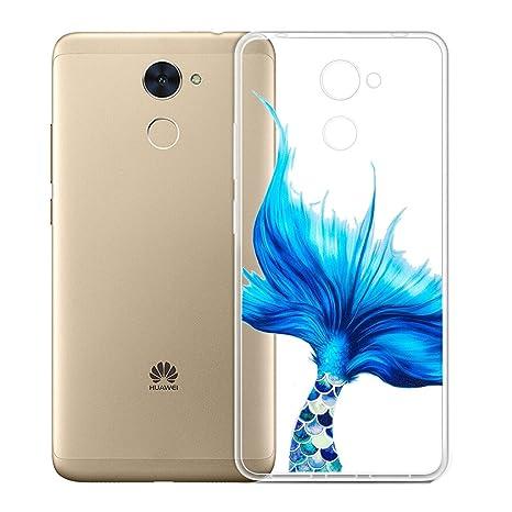 Funda para Huawei Y7 Prime 2017 / Huawei Y7 2017 / Enjoy 7 Plus , IJIA Transparente Hermoso Azul Mermaid TPU Silicona Suave Cover Tapa Caso ...