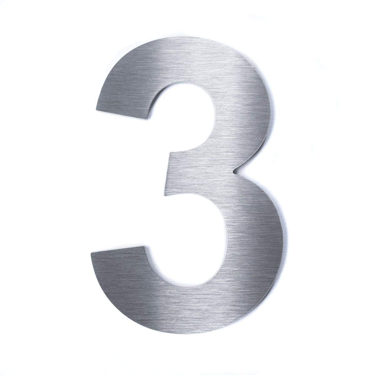 Hochwertige Edelstahl V2A HausnummerKlassisch grob geschliffen massiv /& rostfrei H/öhe 2mm 9 140mm Materialst/ärke
