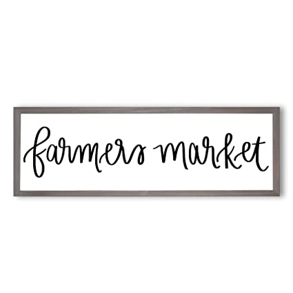 Amazon Com Sweet Water Decor Farmers Market Wood Sign With Frame