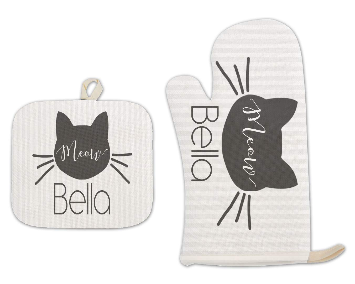 Bleu Reign BRGiftShop Personalized Custom Name Black and Gray Stripes Cat Kitten Meow with Whiskers Linen Oven Mitt and Potholder Set