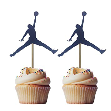 Morndew 24pcs Black Jordan Slam Dunk Basketball Silhouette Cupcake Toppers For Physical