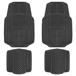 Motor Trend MT824 Black RuggedEarth Car Rubber Floor Mats for Auto Sedan Truck SUV Van - All Weather Deep-Cut Catch-All Liners