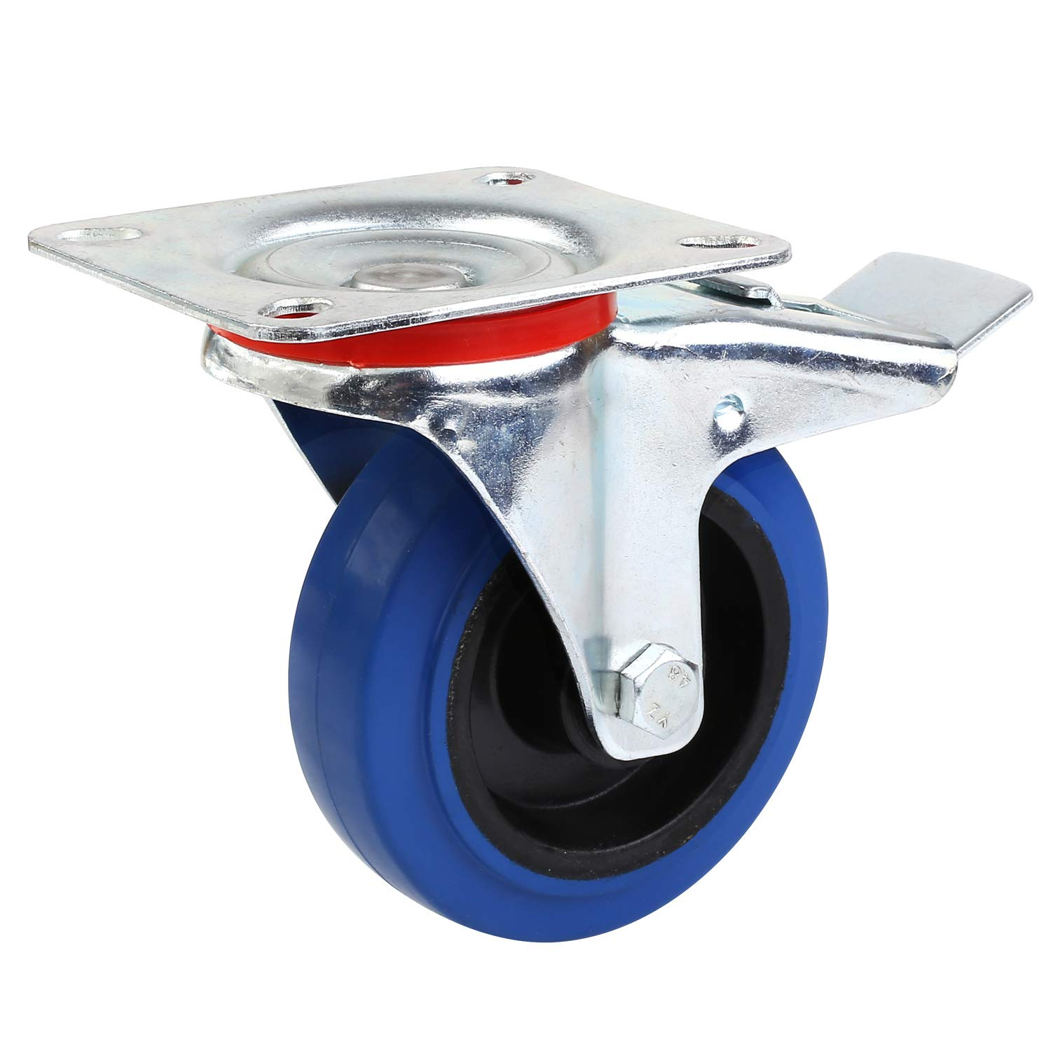 5 inch with brake,Black MVPower 4 Pack 5 Swivel Caster Wheels Dust Cover Rubber Heavy Duty Castors with 360 Degree Top Plate