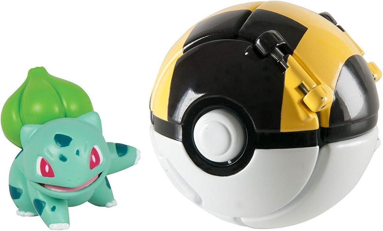 Mocoe Throw 'N' Pop Poké Ball, Bulbasaur and Ultra Poke Ball, Pokemon Action Figure Game for Children's Toy Set