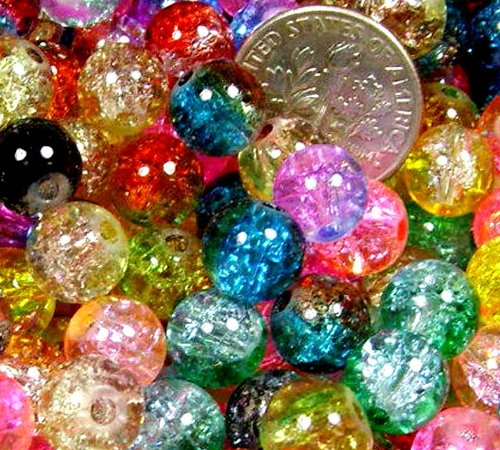 Beading Station 50-Piece Mix Crackle Lampwork Glass Round Beads, 8mm ()