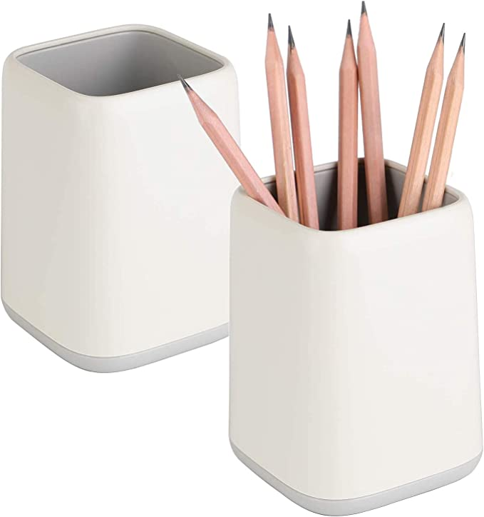 2 Pack Desk Pen Holder Two Tone Cute Pen Cup Makeup Brush Holder Durable Desktop Organizer Pencil Holder For Desk Vanity Table Office Supplies Gray Amazon Ca Office Products