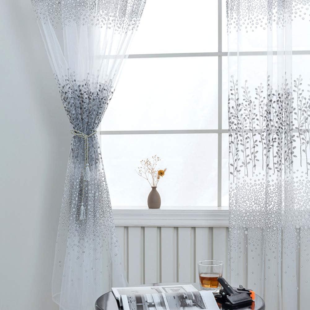 Everpertuk Vorh/änge 1pc Vorhang Transparent Gardinen,Transparent Voile Vorhang Gardine Schal Glimmer f/ür Fenster Wohnzimmer Schlafzimmer Moderne und Elegante Gardine 1m Width x 2m Length.