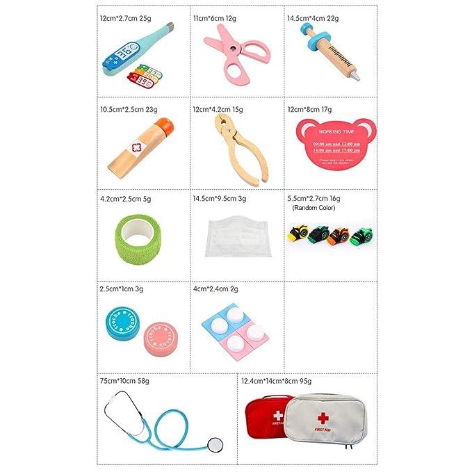 15 Pezzi Pretend Gioca Set Medico Kit di Pronto Soccorso in Legno per Regalo per Bambini Gioco Educativo per Ragazzi E Ragazze Kitabetty Kit Medico per Bambini