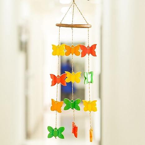 ExclusiveLane Outdoor Garden Cum Home Decorative Hanging with Spinning Butterflies (Multicolour, Wood)