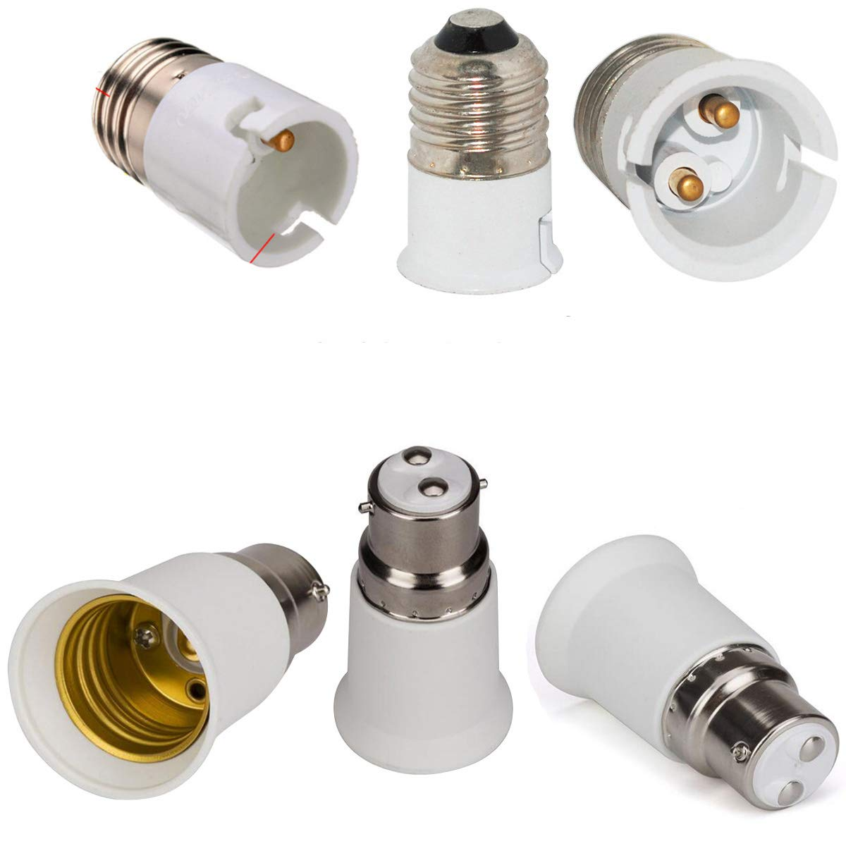 3-Pack E27 to B22 Holder Bulb Adapter 3-Pack B22 to E27 Socket Extender Replacement LED Lamp Screw Base Bulb Holder Converter Lamp Socket Adapter AMAZFASHION