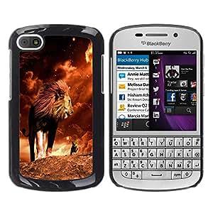 Qstar Arte & diseño plástico duro Fundas Cover Cubre Hard Case Cover para BlackBerry Q10 ( Lion Mane Golden Sahara Africa Powerful)