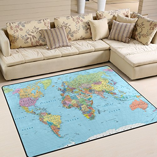 Naanle Education Educational Area Rug 5'x7', Borders Countries Roads Cities Detailed World Map Polyester Area Rug Mat for Living Dining Dorm Room Bedroom Home - Road Kids For Country