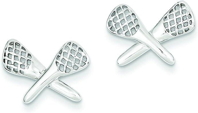 Sterling Silver Lacrosse Earrings Studs