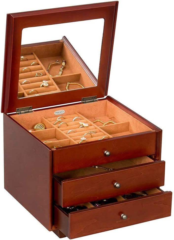 Mele & Co Personalized Hayden Wooden Jewelry Box with Drawers, Custom Engraved Jewelry Organizer Chest with Mirror