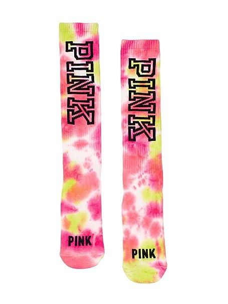 28dea4997 Victoria s Secret PINK Knee High Socks Pink Tie Dye at Amazon Women s  Clothing store
