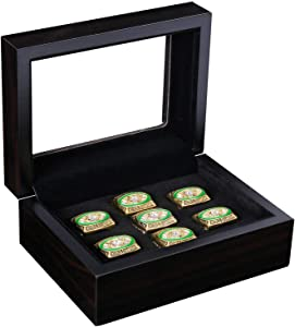 RECHIATO Sports Ring Display Case Sports Ring Storage Box Wooden Black Velvet Lining Flat