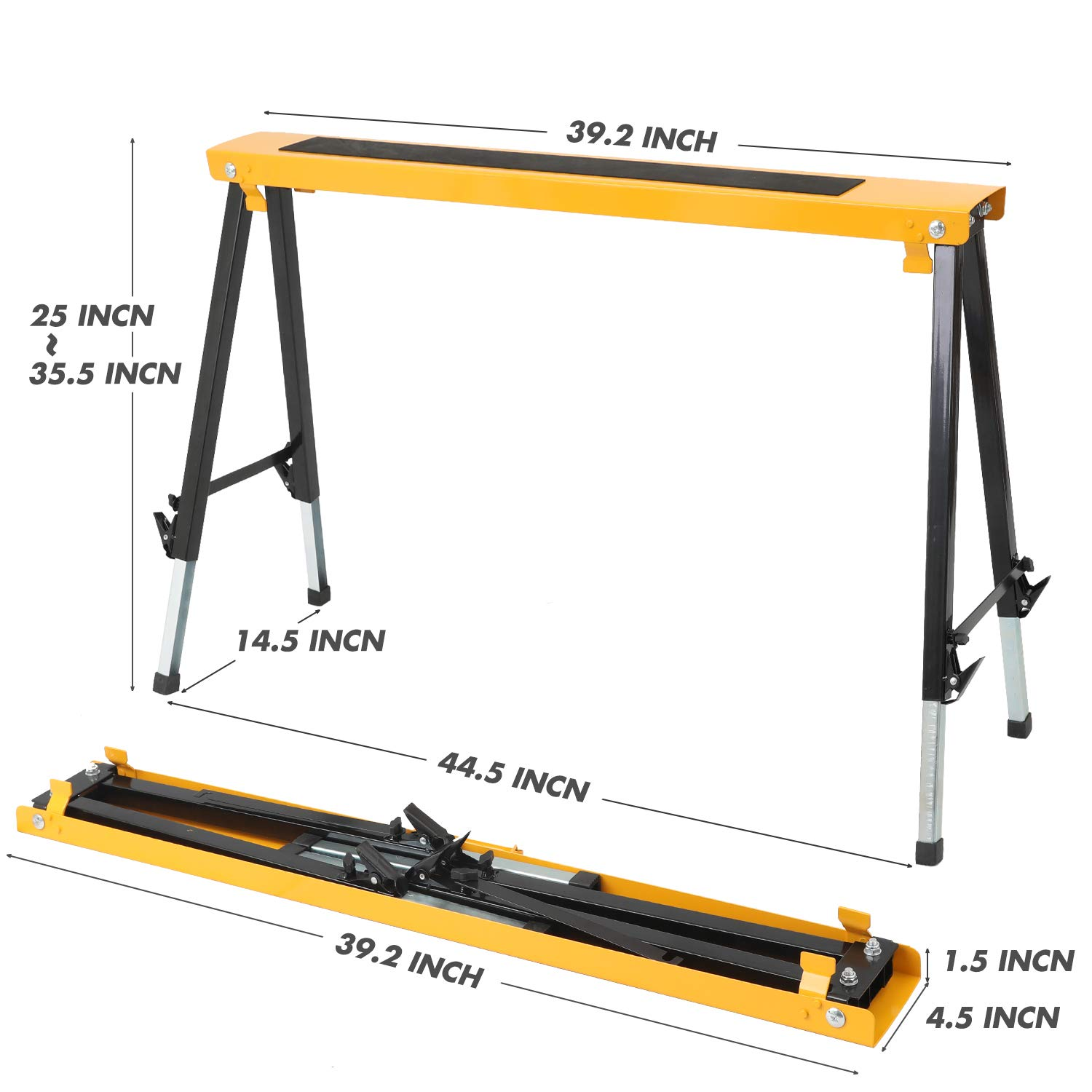 2 Pack Adjustable Saw Horse w/Clamps and Handle Heavy Duty Folding Portable Sawhorse 330lbs Weight Capacity Each by Hromee (Image #4)