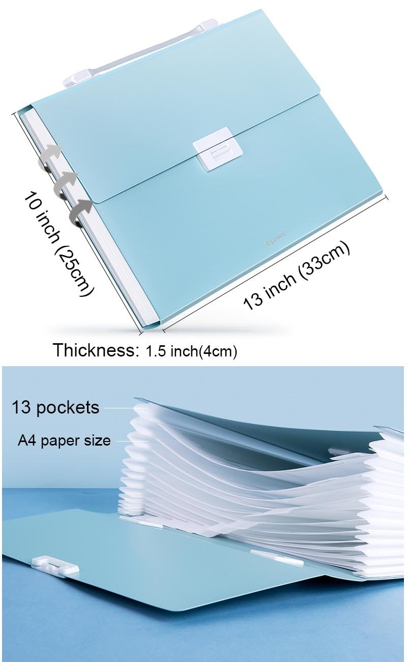 Blue Heatleper 26 Pockets Expanding File Folder Canvas A4 Size Accordion Document Organizer with Handle