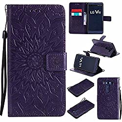 V10 Case, V10 Cover, Dfly-US Premium Soft PU Leather Embossed Mandala Design with Kickstand Function Card Slot Holder Slim Flip Protective Wallet Cover for LG V10, Purple