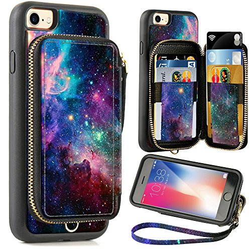 Lucky Slots Handbag - ZVE Wallet Case for Apple iPhone 8 and iPhone 7, 4.7 inch, Zipper Wallet Case with Credit Card Holder Slot Handbag Purse Wrist Strap Print Case for Apple iPhone 8/7 4.7 inch - Starry Sky