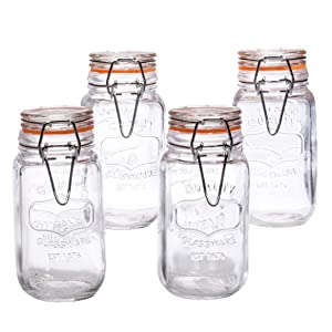 Airtight Bail & Trigger Quality Glass 5 Ounce Spice Jar Bottle Canister With Lid Set Of 4 For Home Kitchen, Arts & Crafts Projects,Snack Foods Herbs, Spices – By Home Essentials & Beyond