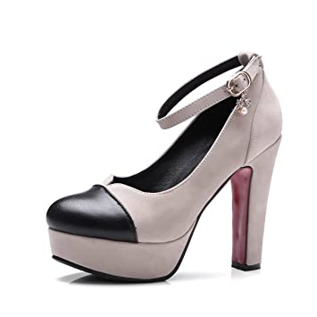 d351e4d710b Women s Shoes PU Spring Fall Basic Pump Heels Suede Buckle Colorblock Round  Head Crude Heel