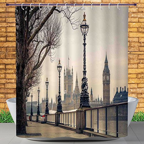 Homenon 72 X 84 Inch Shower Curtain by, London,Big Ben and Houses of Parliament the Riverside With Retro Lanterns Picture,Tan Grey and Ivory,Water and Mildew Resistance Kids Shower Curtain Designs
