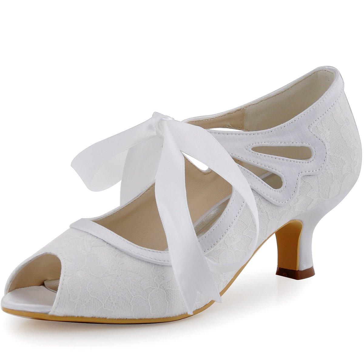 Elegantpark HP1522 Women s Mary Jane Peep Toe Mid Heel Ribbon Tie Cut-Out  Lace Satin Wedding Bridal Pumps Shoes White US 9  Amazon.ca  Shoes    Handbags 073f88d87855