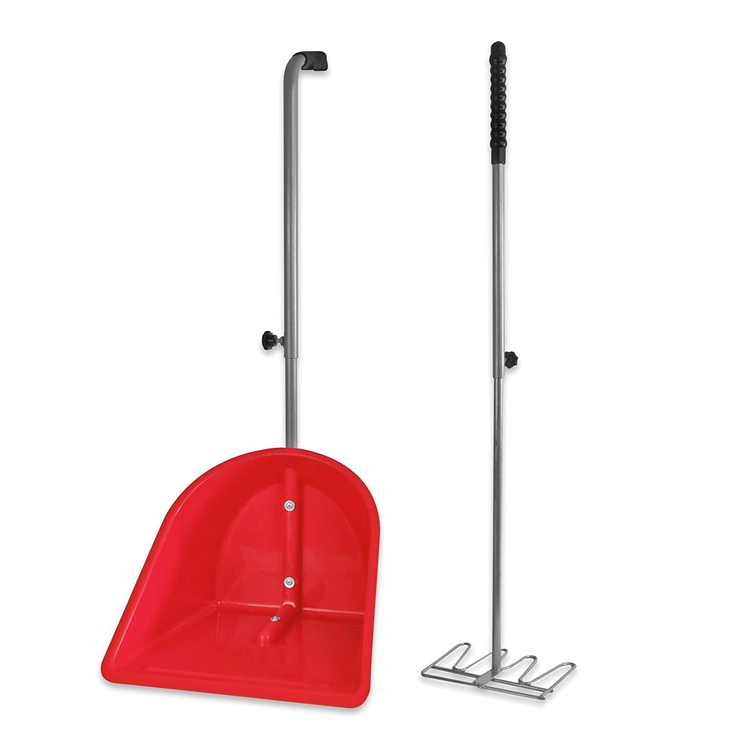 Knight Rider Horse Stable Manure Mucking Out Durable Fully Adjustable Poop Scoop with Rake AND Tigerbox® Antibacterial Pen!