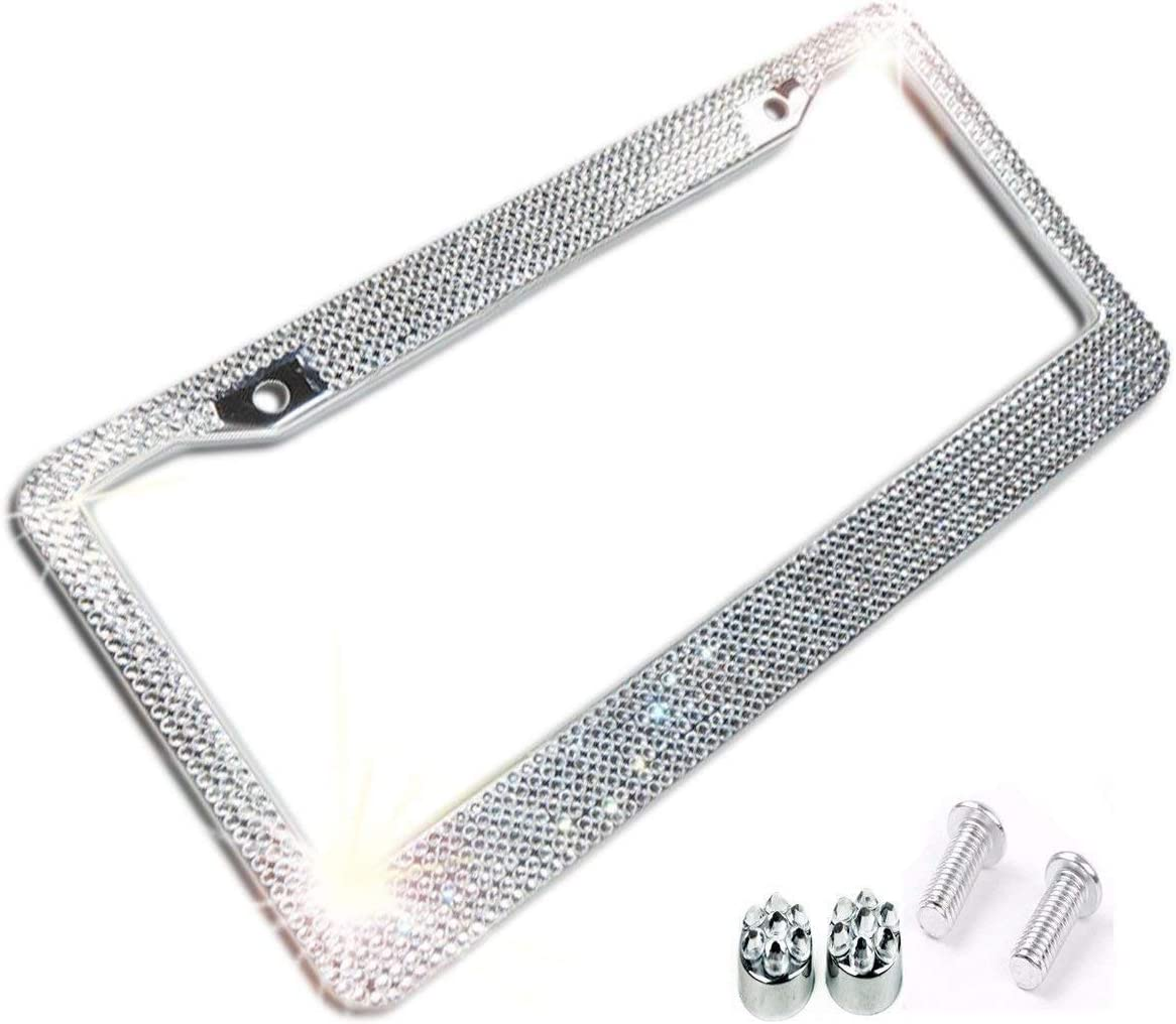 1 Frame BLVD-LPF Popular Bling 7 Row Hot Pink Color Crystal Metal Chrome License Plate Frame with Screw Caps