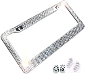 BLVD-LPF Clear/White Crystal Rhinestone License Plate ABS Chrome Frame with Crystal Screw Caps - 1 Frame