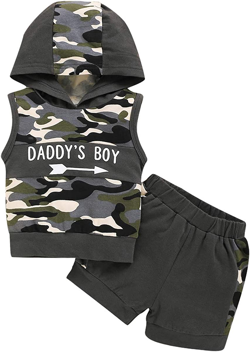 Pants Tracksuit Set puseky Infant Baby Boy Camouflage Outfits Daddys Boy Hoodie Shirt