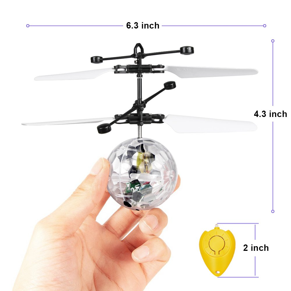 Betheaces Flying Ball, RC Flying Toy, Boys Toys, Infrared Induction Helicopter Drone with Colorful Shinning LED Light and Remote Controller for Kids, Gifts for Boys and Girls, Indoor and Outdoor Game by Betheaces (Image #6)