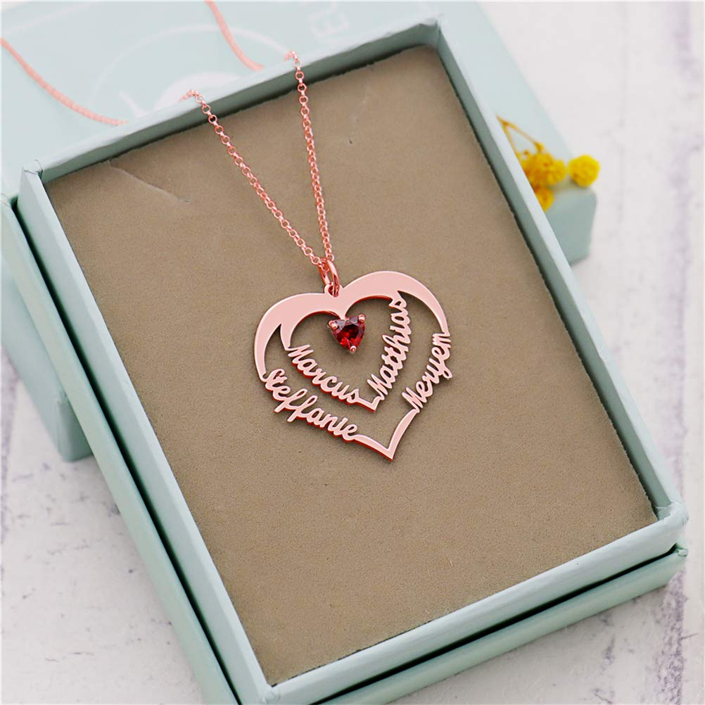 FORTUN Mom Necklace Birthstones Personalized Promise Heart Pendant