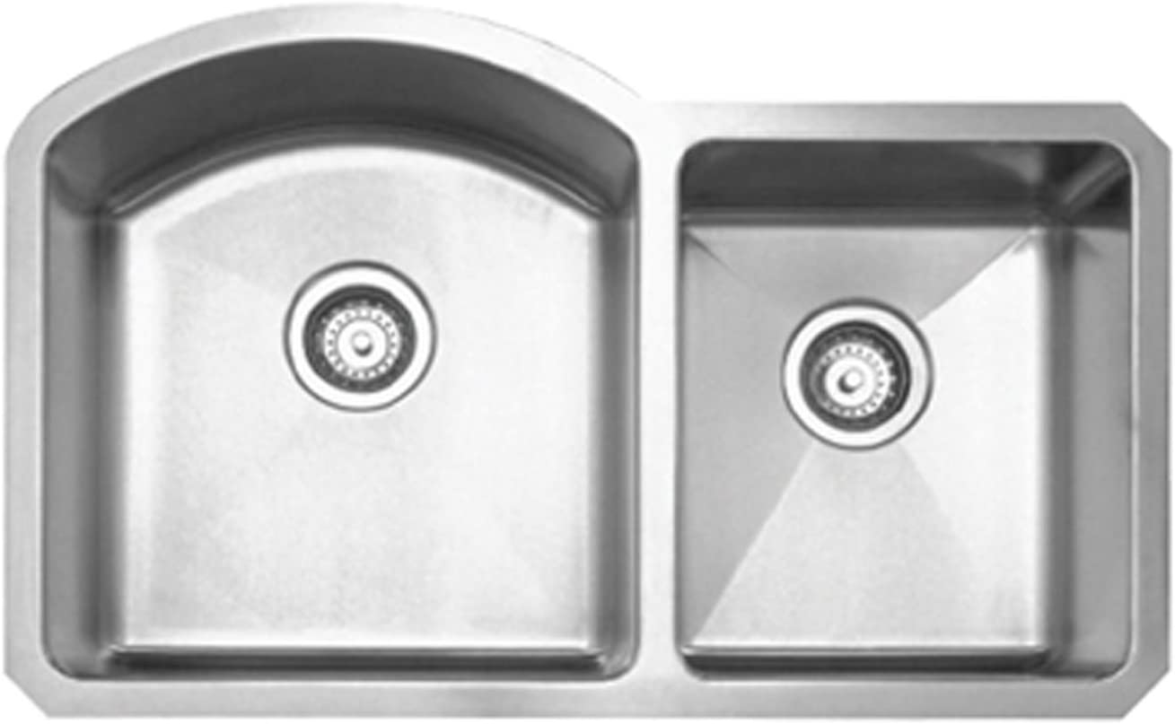 Whitehaus WHNC3220-BSS Haus Series 31 7 8-Inch Double Bowl Undermount Sink, Brushed Stainless Steel