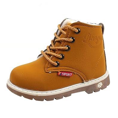 b3b6cf3871764 Sunenjoy Garçons Filles Martin Bottes Épais Chaud Sneaker Occasionnel  Chaussures Neige Bottes pour Enfants 1 2